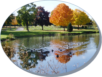Mound Cemetery Pond in Fall - Circle