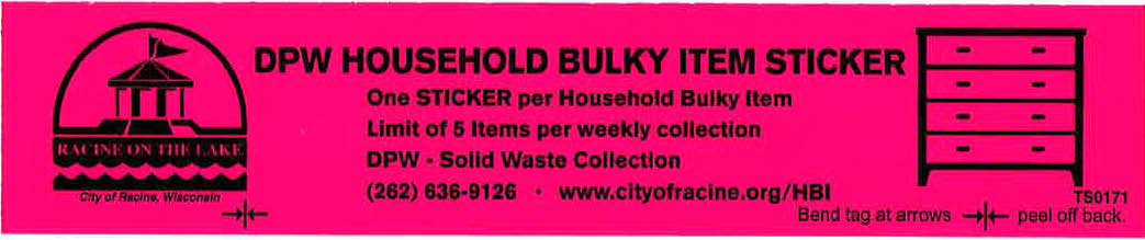 Bulky Item Sticker